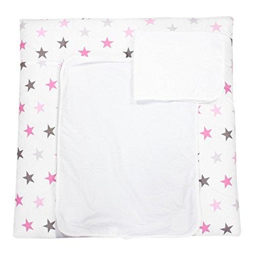 TupTam Wickelauflage inkl. 2 Frotteebezüge Modell MAR02579, Farbe: Sterne Rosa/Grau, Größe: 75 x 85 cm