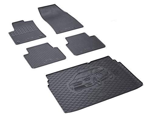 Rigum Passende Gummimatten und Kofferraumwanne Set geeignet für OPEL Crossland X ab 2017 + Gurtschoner