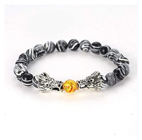 ACCDUER Stone Bracelet Women,7 Chakra Natural Stone Bangle Amber Beads White Stripe Semi-Precious Bracelets Elastic Double Dragon Jewelry Couple Stone bracelet