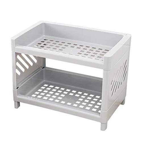 Suszian, Mini scaffale portaoggetti da Cucina, Staccabile e Antiscivolo, a Due Strati, per Cucina e Bagno Grigio