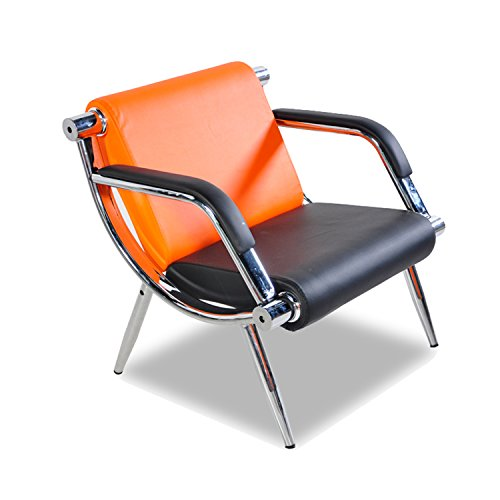 Bestmart INC PU Leather Office Reception Chair Executive Side Waiting Room Visitor Guest Sofa (Orange, 1)