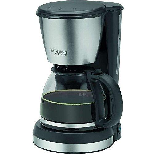 Edelstahl Kaffeemaschine Glaskanne 1,5 Liter Wasserstandsanzeige Kaffeeautomat 12 Tassen (Schwenkfilter, Nachtropfsicherung, Warmhalteplatte, 900 Watt, Schwarz)