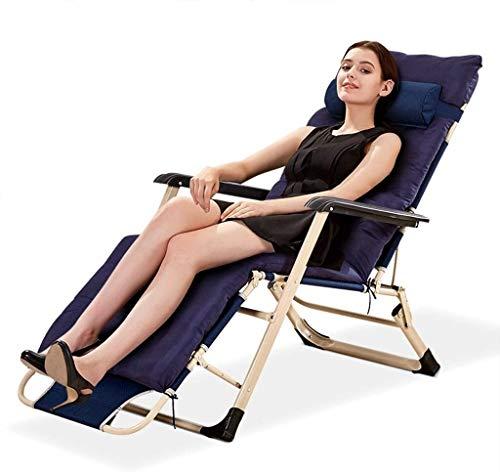 OESFL Sillas reclinables Plegable al Aire Libre Tumbona Ajustable Playa Jardín Junto a la Piscina Resto reclinable con Suave extraíble Almohada (Color : Blue)