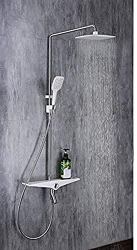LFERRTYZ Ducha de baño Sistema de Ducha Baño Rain s Set Mezclador de Pared Grifo Cromado Cuadrado Blanco Arriba con Ducha de Mano ABS