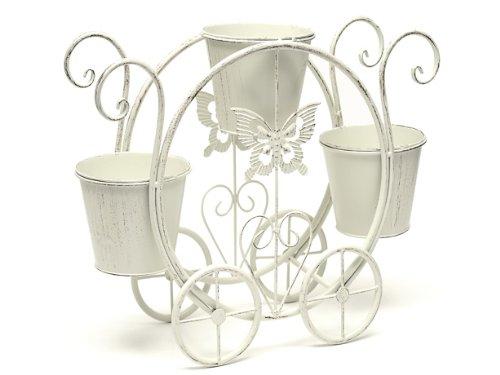 CB Imports Country Baskets Landau décoratif avec 3 pots de fleurs Crème