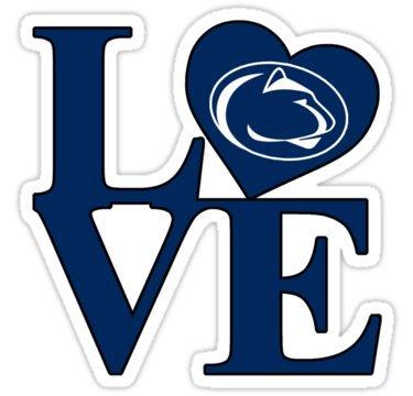 Chili Print Love Penn State - Sticker Graphic Bumper Window Sicker Decal - State Love Sticker