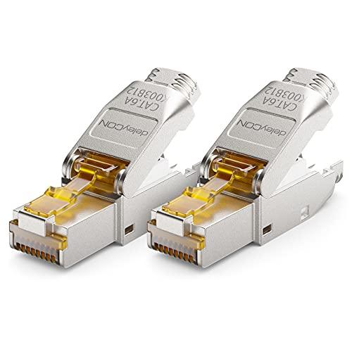 deleyCON 2x CAT 6a Netzwerkstecker RJ45 Werkzeuglos Geschirmt 10Gbit/s Netzwerk Stecker für Starre Verlegekabel Rohkabel Steckverbinder RJ45 Ethernet LAN DSL Patchkabel