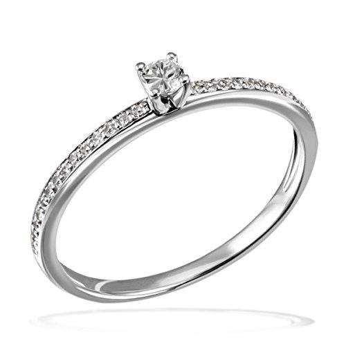 Goldmaid Damen-Ring Verlobung 585 Weißgold Diamant (0.18 ct) weiß Brillantschliff Gr. 58 (18.5)-Pa R7437WG58 Verlobungsring Diamantring