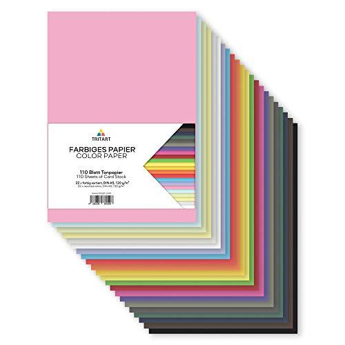 Tritart - papel de color A5 120g /m² I 110 hojas papel manualidades sólido totalmente teñido I Cartulina para manualidades I Cartón fotográfico con 22 colores diferentes I Papel de colores DIY