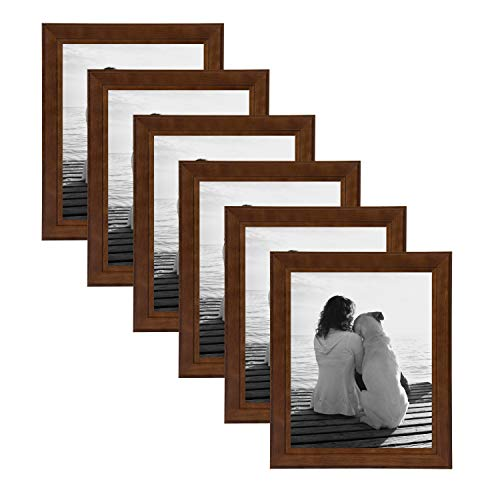 DesignOvation Kieva Solid Wood Picture Frames, Espresso Brown 8x10, Pack of 6