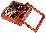 Frutero Chino Snack Platter Compartimento Tuercas Sirviendo Plato con tapa Cuadrado Caja de frutas secas de madera Sala de estar Caja de caramelo Creativo Bandeja Multifunción Snack Snack Contenedor d
