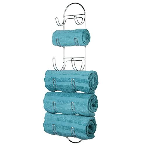 mDesign Toallero de baño para montaje en pared – Estantes para toallas de metal cromado – Elegante accesorio para el baño – Repisa para toallas ideal para el baño de invitados – plateado