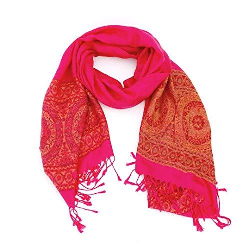 Novadis Pashmina - Sciarpa lunga da donna, foulard con stampa cachemire, elegante motivo cachemire etnico rosa fucsia