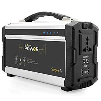 Rechargeable Battery Portable Power Generator - 222-Watt Solar Panel Compatible Dual USB Charge Ports Digital LED Display Panel - Works with Phones Tablets & Laptops - SereneLife SLSPGN30