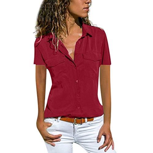 VEMOW Blusas Camisetas Mujeres Manga Corta Suelta Manga Corta Cuello Bolsillos Botones Tops(Vino,M)