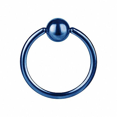 Piercingfaktor® Piercing BCR Ring Septum Klemm Big Captive Bead für Tragus Helix Ohr Nase Lippe Brust Intim Nippel Blau 2,0mm x 12mm x 5mm