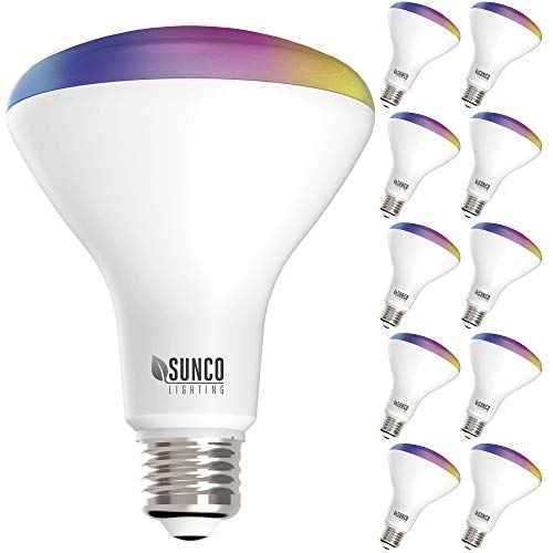 Sunco Lighting 10 Pack WiFi LED Smart Bulb, BR30, 8W, Color Changing (RGB & CCT), Dimmable, 650 LM,...