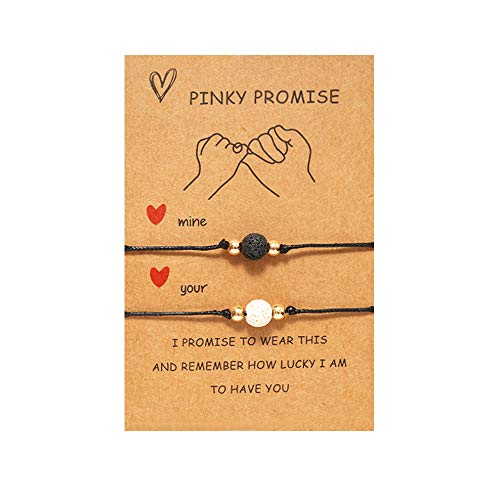 Pinky Promise Bracelets Long Distance Relationships Gifts Matching Bracelets for Couples Bracelets for Boyfriend and Girlfriend