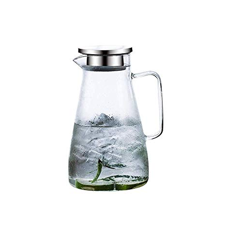 Liter Glass Pitcher, Carafe with lid, ice Tea Pitcher, Water jug ??for hot and Cold Water, Water Carafe for Wine Coffee Milk and Juice Beverage Carafe (Single Pot, no Cup)