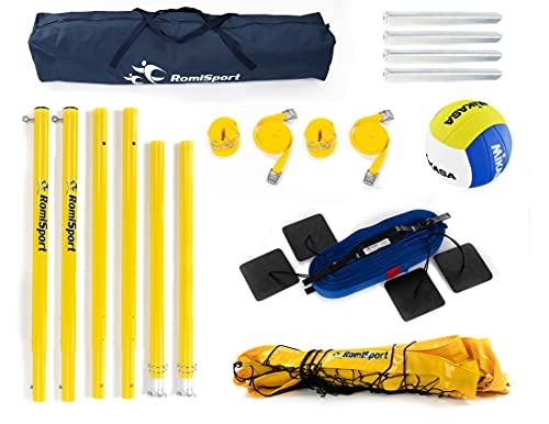 RomiSport Beachvolleyball Komplettes Volleyball-Set für draußen Netz + Stangen + Feldmarkierung 8.5 m, 9.5 m + Ball VXL20 - Volleyballnetz Set