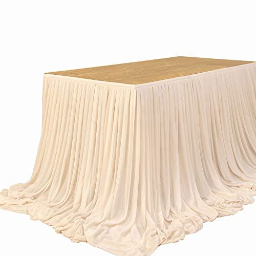 Ling's moment Tischrock, extra lang, durchsichtig, für Hochzeit, Schatz, Geburtstag, Party, Kuchen, Tischdekoration, Nude