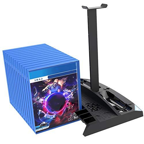 Nicoone Soporte vertical 6 en 1 controlador multifunción Soporte de carga Ventilador de refrigeración Discos Rack para PS4 PRO