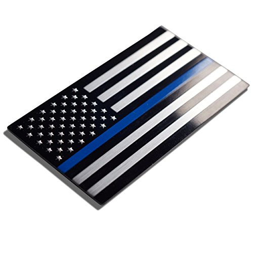 Aluminum Thin Blue Line Decal Blue Lives Matter Sticker Emblem   In Support of Police Officers and Law Enforcement 3.20 x 1.75