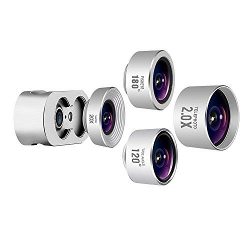 Handy Universal Externes Objektiv Externe HD Webcam 180 ° Fisheye 48 ° Tele 20X Makro 120 ° Weitwinkel Vier-in-Einem Handy Universal External SLR Professional Set (Farbe : Silber)