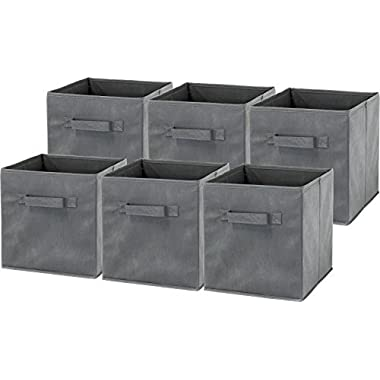 6 Pack - SimpleHouseware Foldable Cube Storage Bin, Dark Grey