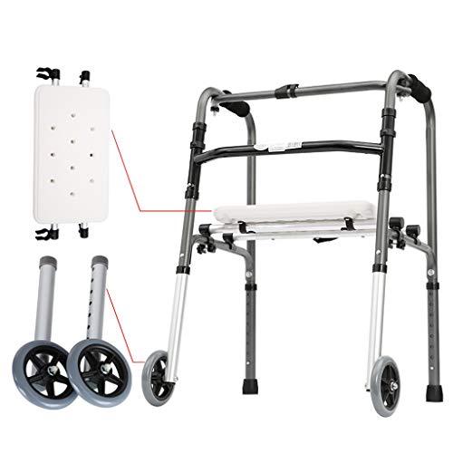 Silla de Ruedas Wheelchair Sillas de Ruedas Andador Discapacitado, Anciano Con Placa De Baño Y Polea Reposabrazos De Aleación De Aluminio Caminante Que Camina 8 Altura De Engranaje Ajustable, Adecuado