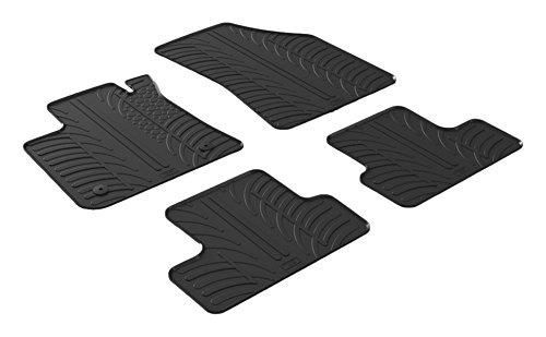 Set tapis de caoutchouc compatible avec Renault Megane IV 5 portes/Grandtour/Grand Coupe 2016- (Boite manuelle) (T profil 4-pièces + clips de montage)