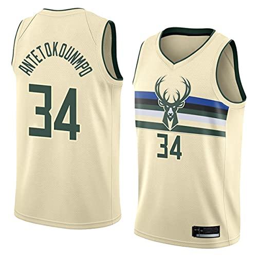 NBA Milwaukee Bucks # 34 Antetokounmpo Classic Jersey, Edición Ciudad Uniforme de Baloncesto Resistente al Desgaste Malla Bordada Secado rápido de la NBA Jersey,1,XXL