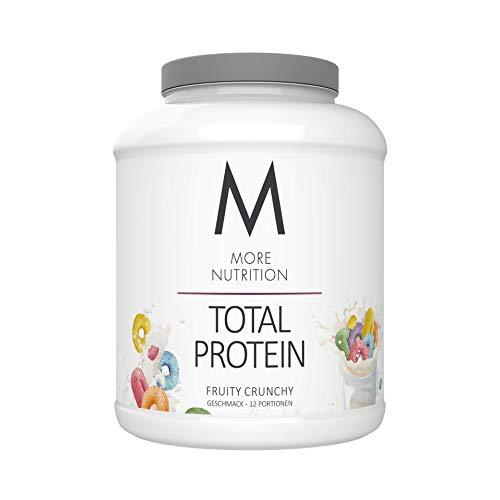MORE NUTRITION Total Protein Eiweiß-Pulver mit Whey und Casein – 600g Fruity Crunchy (+ weitere Sorten) - Mit Aminosäuren und Laktase – Anti-Heißhunger, Gewichtsmanagement und Muskelaufbau