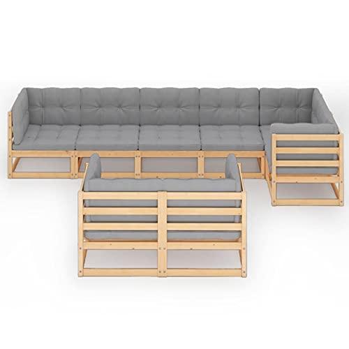 Susany Set de Muebles de Jardín de 8 Piezas Sofá de Palets de Terraza con Cojines Sillon Conjunto de Asientos para Balcón Cómodo Madera Pino Maciza Gris