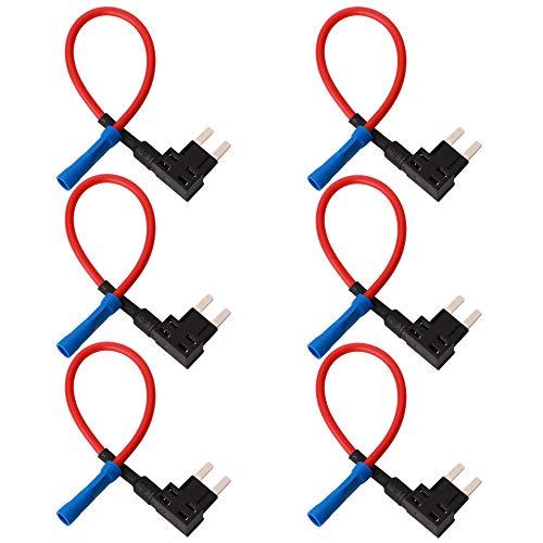 GTIWUNG 6Pcs 32V Add-a-Circuito Portafusibles, Portafusible con Hilo in-Line Coche Circuito Cuchilla Estilo Adaptador Cable Fusible, Perfil Bajo Cable Fusible - Miniatura Tamaño