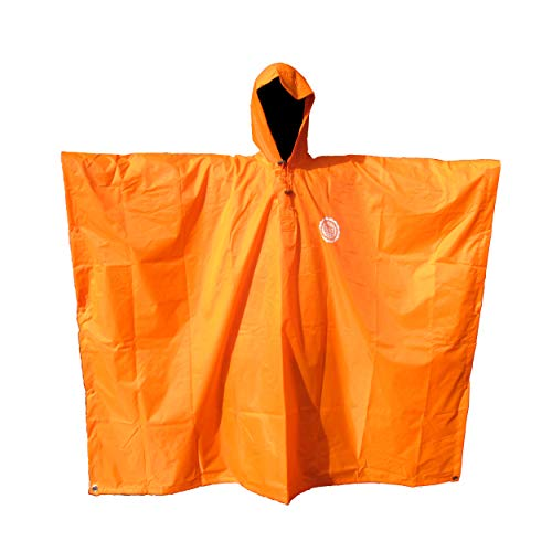 SEAL3 Rain Poncho - Waterproof, Hooded, Heavy Duty PVC Raincoat-Gear. All Outdoor Multi-Use- Hunting, Backpack, Survival, Emergency, Military or Stadium. Adult Men-Women-Kids in Safe Orange.
