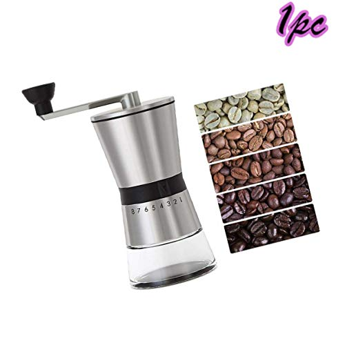 Hand Coffee Grinder, CASIZ Because Hand Ground Coffee Beans Taste Best, Infinitely Adjustable Grind, Glass Jar, Stainless Steel for Espresso, Aeropress, Drip Coffee, French Press, Turkish Brew