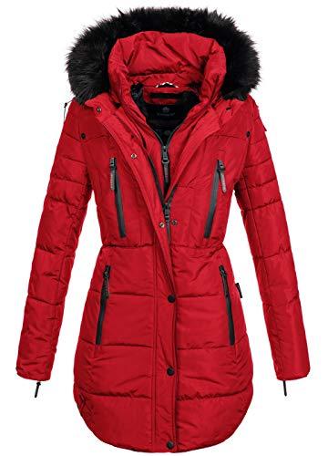 Marikoo warme Damen Winter Jacke Winterjacke Parka Stepp Mantel lang B401 [B401-Moonshine-Rot-Gr.S]