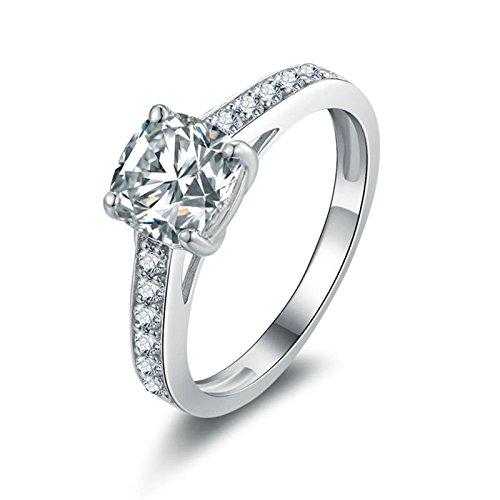 Bishilin Damen Ringe Silber 925 4-Steg-Krappenfassung Kissen Weiß Zirkonia Rund Hochzeitsringe Verlobung Ring Silber Gr.58 (18.5)