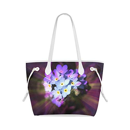 Soft Tote Bag Forget Me Not Blossom Bloom Flower Blue Plant Compact Tote Bag Handbag Tote Bag Large Capacity Water Resistant with Durable Handle