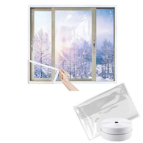 LIBRNTY Película aislante para ventana o puerta,Protección contra el frío,corte de bricolaje (trae 2 rollos de velcro) mejora el material de TPU en 2020, no tóxico,insípido,5 tamaños (120cmx150cm)