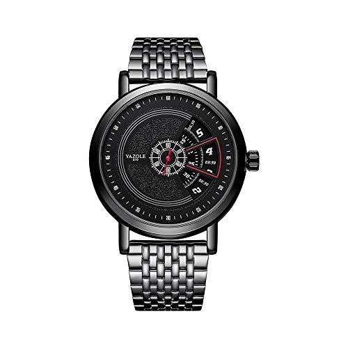 Armbanduhr,Koreanische Version Der Vibrierenden Quarzuhr Mode Plattenspieler Stahlgürtel Uhr, B