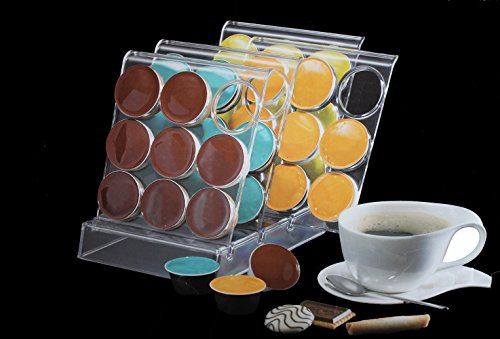 Emanhu Trading Kaffe Kapselständer Kapselhalter klein/groß 36er/54er transparent (für 36 große Kapseln (ca. 45mm))