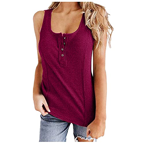 hainJS - Camiseta de tirantes para mujer, de verano, elegante, cuello en V, sin mangas, informal, blusa, túnica, espaguetis, blusa, blusa, blusa, blusa, tops de tirantes Vino XXL