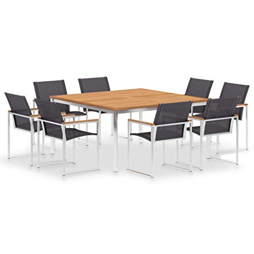 vidaXL Teak Massiv Gartenmöbel Set 9-TLG. Sitzgruppe Gartengarnitur Gartenset Sitzgarnitur Esstisch Gartentisch Tisch Stühle Edelstahl