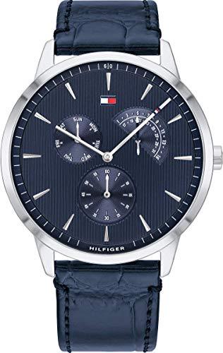 Tommy Hilfiger Herren Multi Zifferblatt Quarz Armbanduhr mit Lederarmband