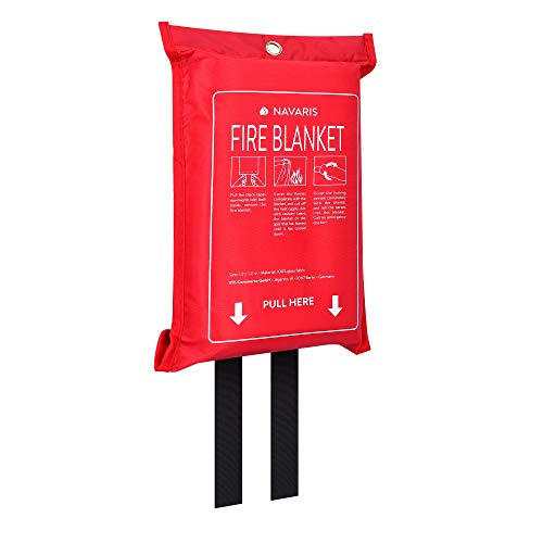 Navaris branddeken glasvezel 1,20x1,20m - Branddeken voor vette branden - Branddeken keukenauto - Branddeken brandblusdeken
