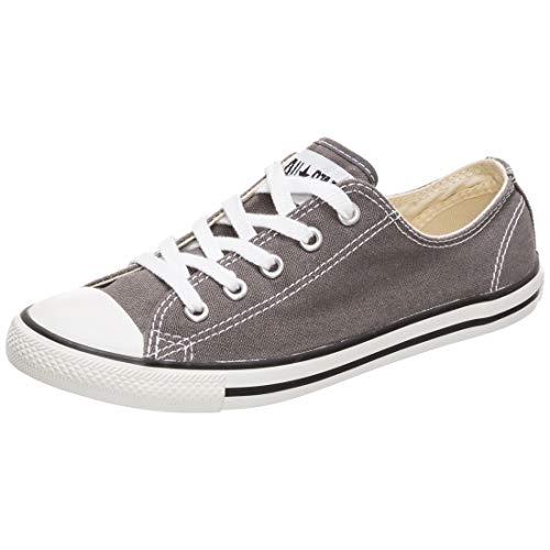Converse Unisex Dainty Canvas Low Top Sneaker, Charcoal, 10 US Women