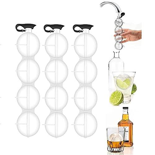 4-Loch-Eisballmaschine, Whisky-Eisballform Küchengeräte Wiederverwendbare runde Eismaschine Geeignet für Whisky, Cocktail, Eistee, Frucht-Eis am Stiel (3pcs)
