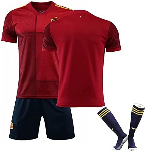 サッカーユニフォーム 大人少年制服スペインのホームジャージセットイニエスタ、ラモスレプリカサッカーユニフォーム 子供用 ジュニア男性と女性のトレーニングジャージ靴下と制服 ジュニア キッズ トレーニングウェア (Color : レッド, Size : 22)